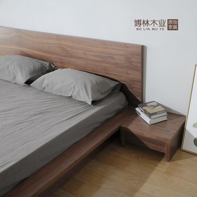 Nordic wood Japanese tatami bed simple log 1.8 meters oak bed double bed bedroom bed soft back