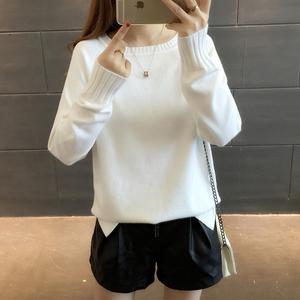 20加绒加厚女装2018秋冬新款宽松套头韩版圆领纯色长袖打底针织衫