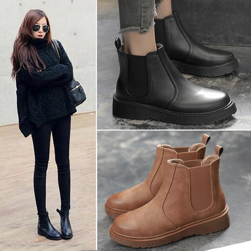 春秋復古馬丁靴女英倫風切爾西短靴平底韓版學生百搭2017新款春季