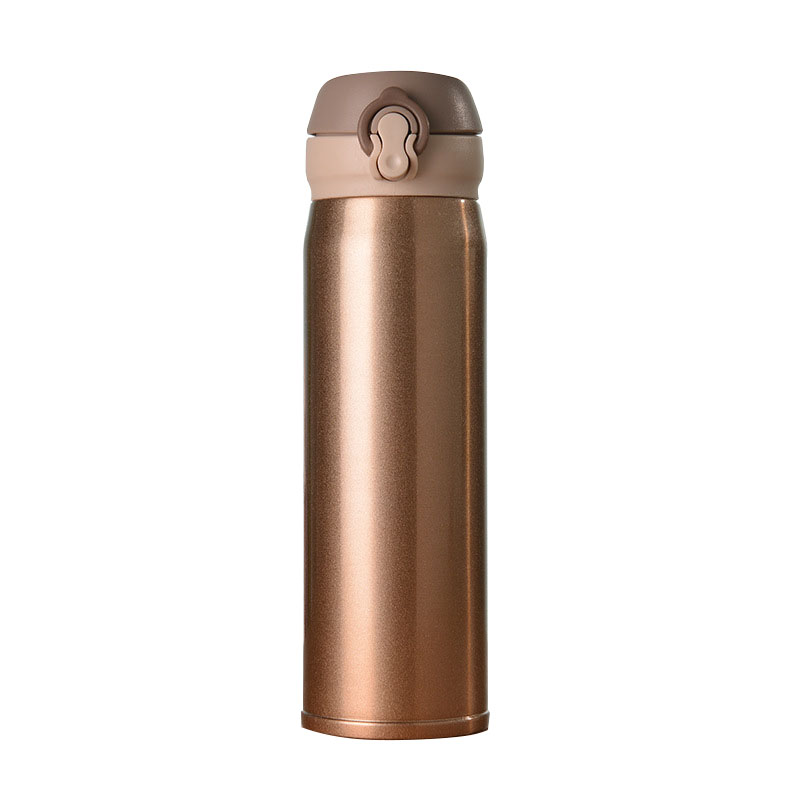Stainless steel thermos cup bounce lock type double deck high vacuum male and female student car traveling thermos cup