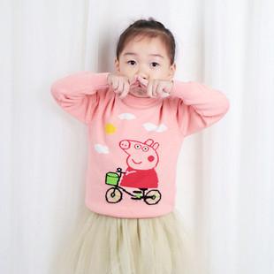 儿童羊绒衫 大女童 毛衣针织衫宝宝羊毛衫羊绒衫圆领加厚套头衫