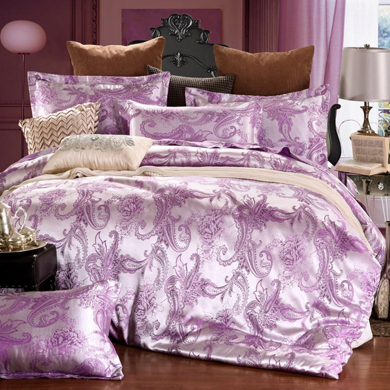 Pure Tencel single sheets of four sets of luxury double jacquard silk satin satin quilt 4 sets of European