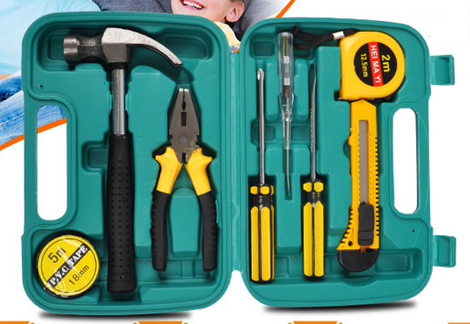 Household hardware tool kit set electric screwdriver wrench hammer combination toolbox post.