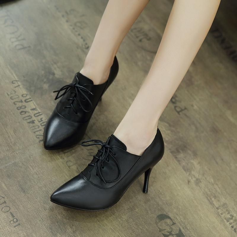 大码新冬秋季女鞋黑色系带尖头高跟鞋真皮细跟中跟皮鞋女深口单鞋