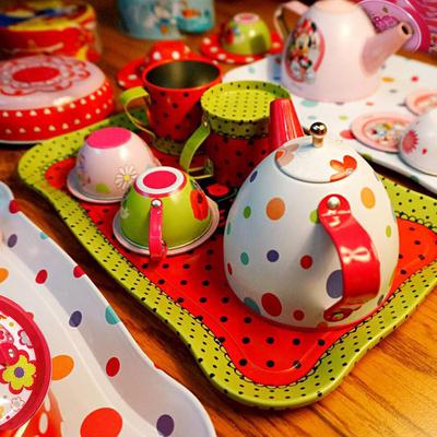 儿童过家家厨房组合玩具男女童小孩游戏下午茶马口铁仿真50件套装
