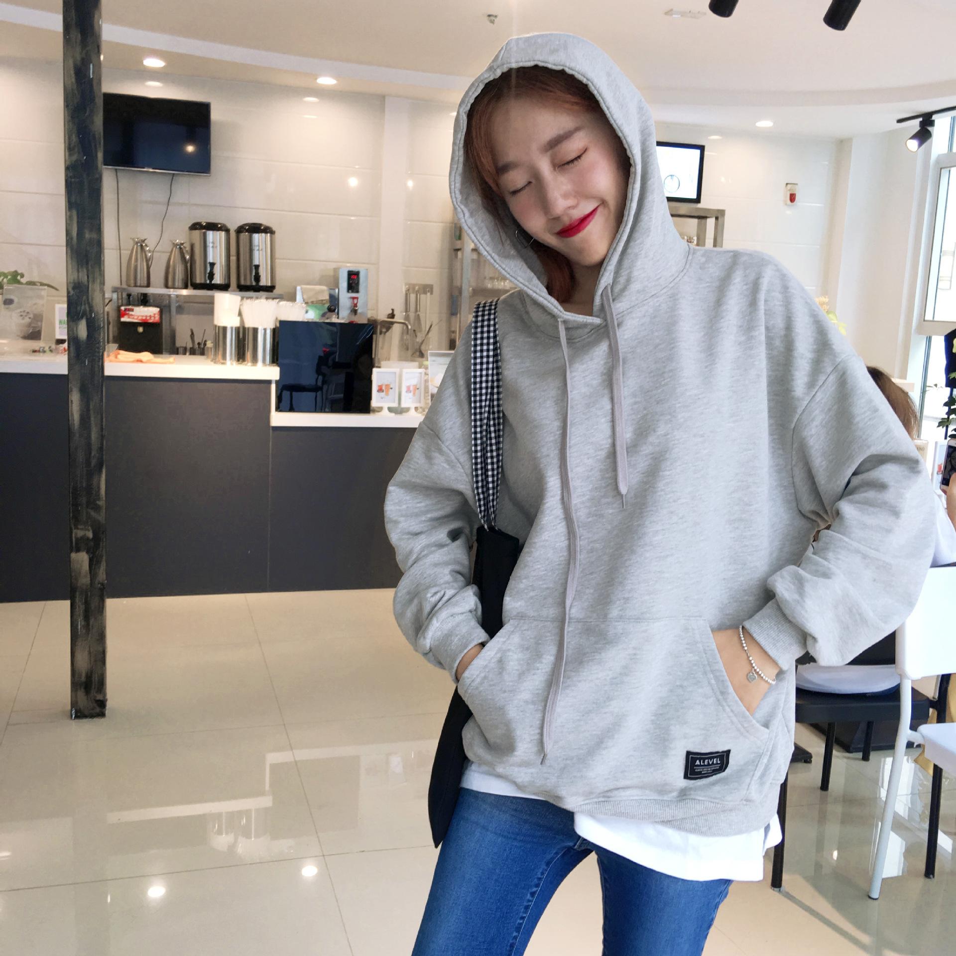 GINA 2017 new Korean fall Daikin loose white edge spell false two standard Black Hoodie