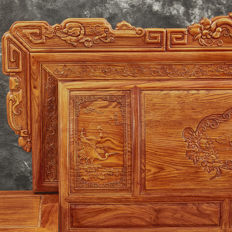 Solid wood bed African rosewood bed double wedding bed Dongyang Myanmar mahogany furniture mahogany storage bed