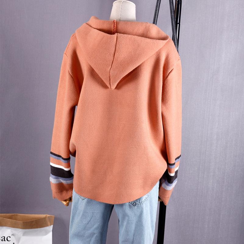 Daikin casa linda con capucha de color un suéter de rayas con manga de jerseys de punto de abrigo abrigo de mujer