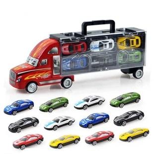 儿童模型货柜车仿真小汽车玩具车12只卡通跑车合金车套装男孩玩具