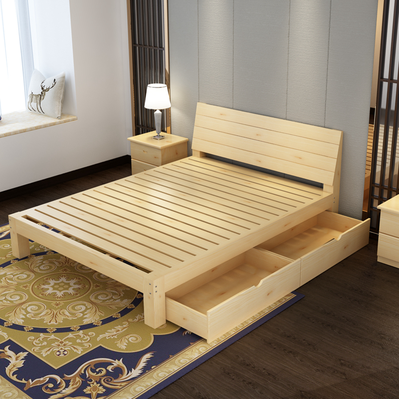 Bed frame, solid bed, double bed, 1.8 meters, simple pine bed 1.5 meters, children's bed 1 meters, simple 1.2 meters single bed