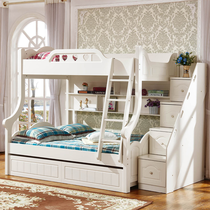 Korean children double bed, high and low bed, multifunctional storage, child, girl, Princess Bed