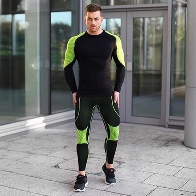 Muscle fitness brother, new long sleeve tights, T-shirt muscle, men's body height, quick elasticity, dry and breathable training clothes