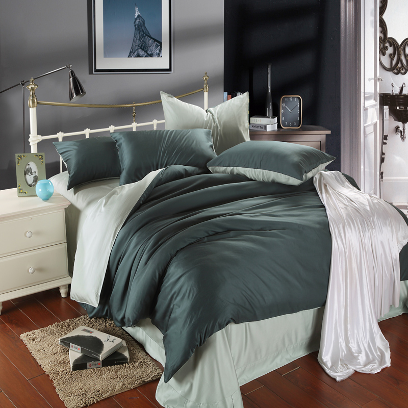 Authentic American minimalist double solid 60 Tencel four piece bedding sheets fitted naked 1.8m