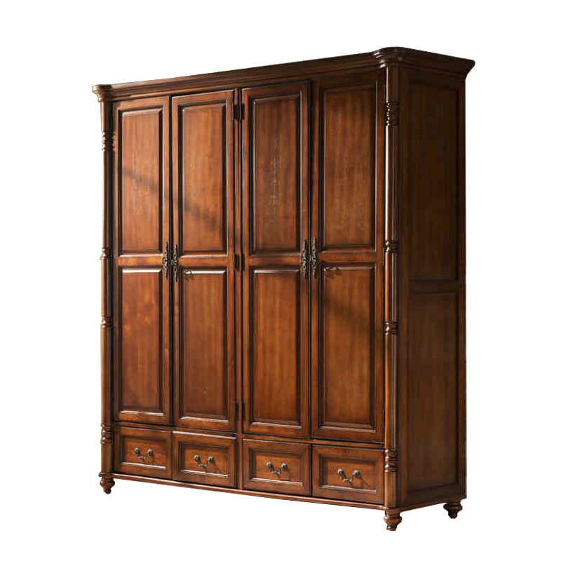 American solid wood four door wardrobe bedroom furniture cabinet as a whole