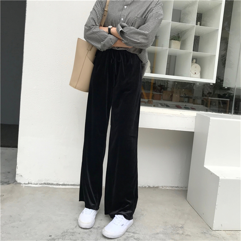 闊腿褲鼕季女韓版chic學生百搭高腰復古絲絨休閑褲長褲顯瘦直筒褲