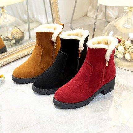 2018秋冬季新款中筒靴粗中跟雪地靴女棉鞋百搭绒面加绒保暖女靴潮