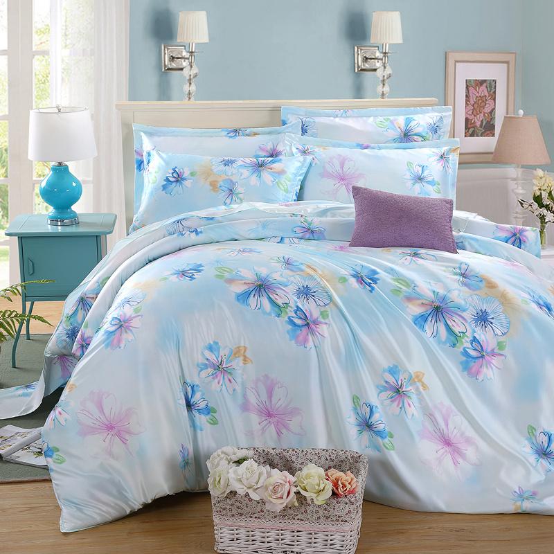 Spring and summer four piece silk satin silk four piece silk quilt bedding sheets 1.8M