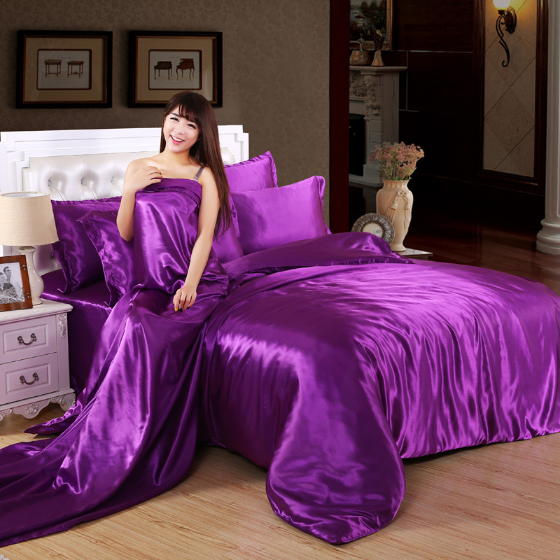 Air conditioning sheet four piece four piece silk bedding package wedding bedding solid simulation set