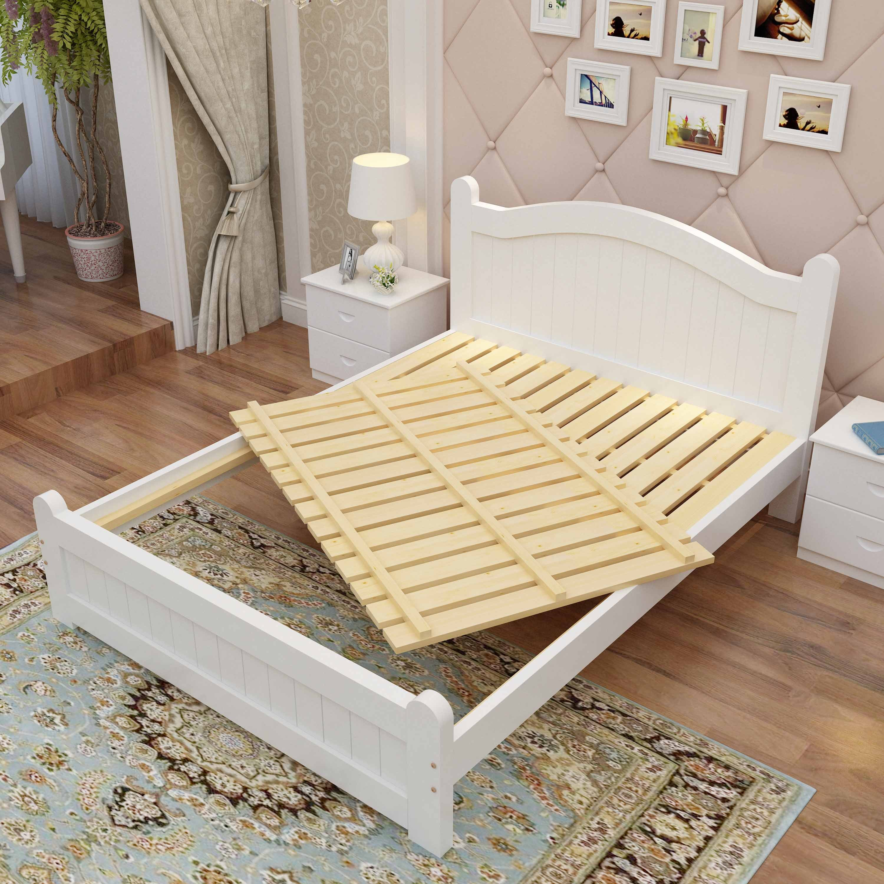 Solid wood bed, 1.8 meters double bed, 1.5m bed master bedroom, simple modern Japanese style, soft Nordic bed