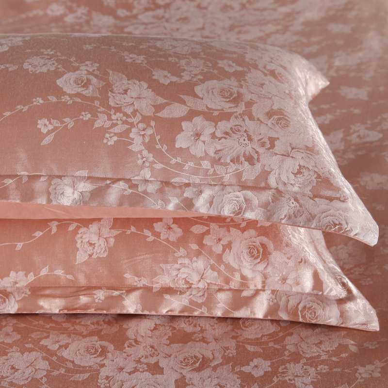 Luxurious and Cathy jacquard satin embossed orange small roses four piece quilt quilt bed