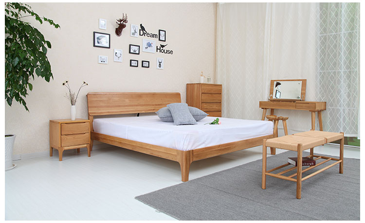 Nordic double bed 1.8 meters solid wood bed, white oak 1.5 meters, Japanese solid wood bed bedroom, Nordic furniture package mail