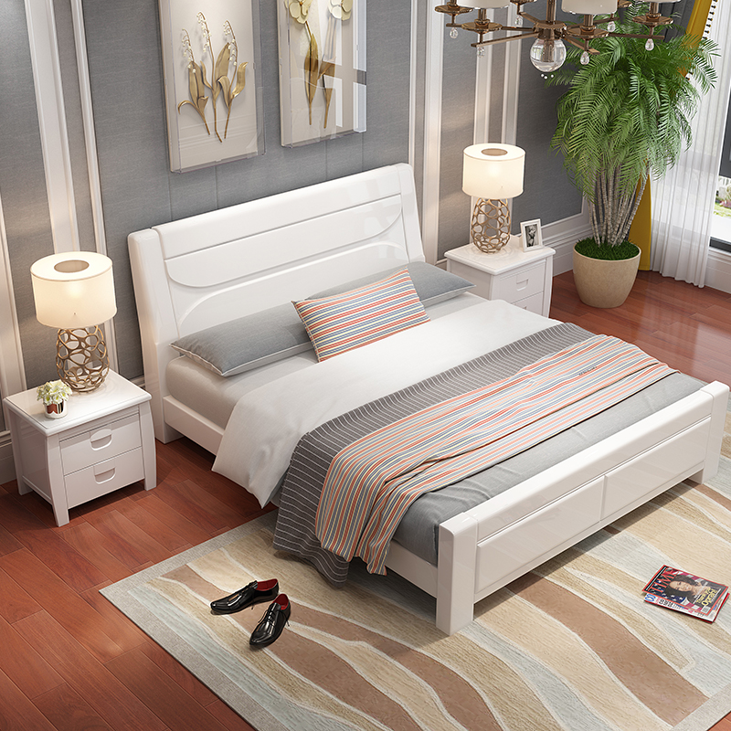 All solid wood bed white double bed 1.8 modern simple piano baking bed master bedroom new Chinese solid wood bed wedding bed
