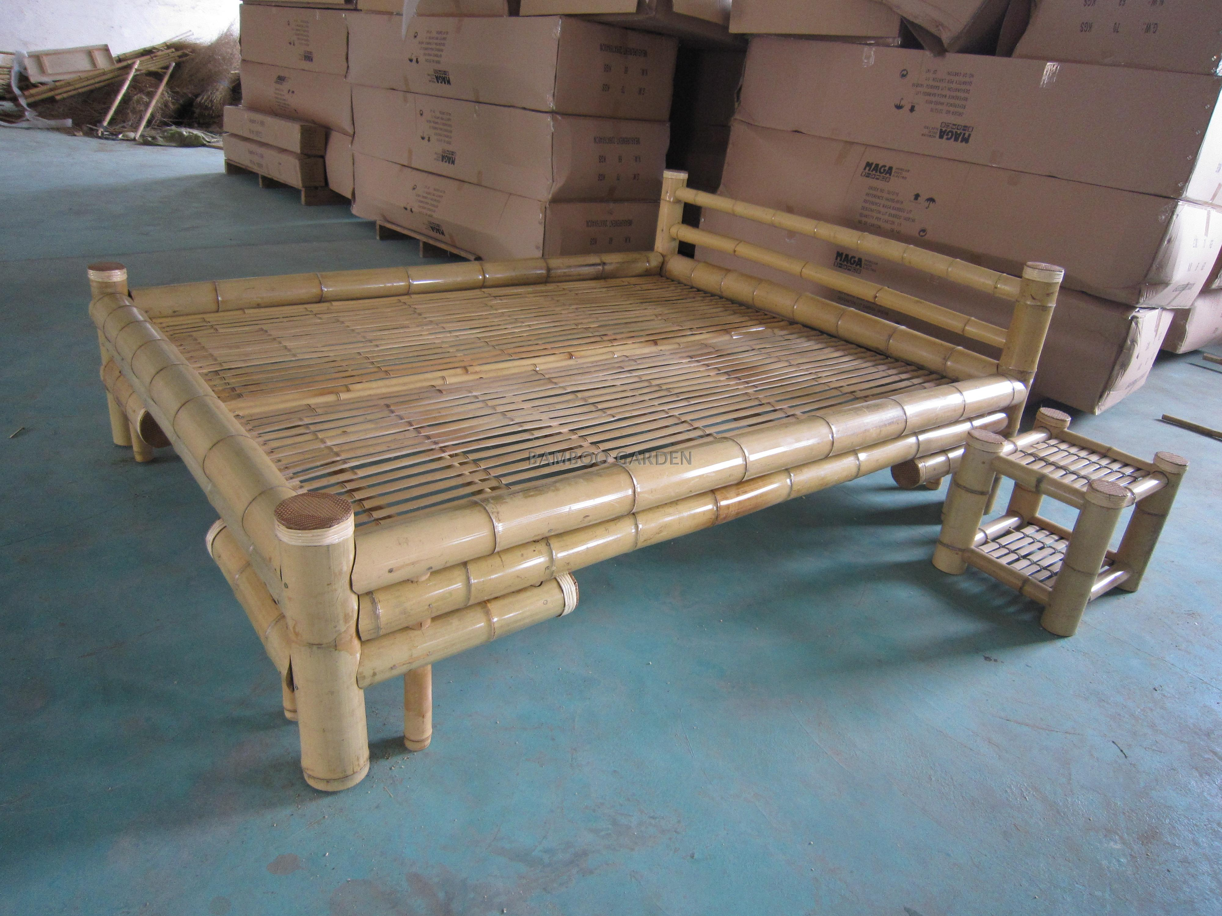 High quality bamboo leisure single bed, double bed, children's bed, lunch bed, rattan bed, 1.5 meters wide Bamboo Furniture Customization