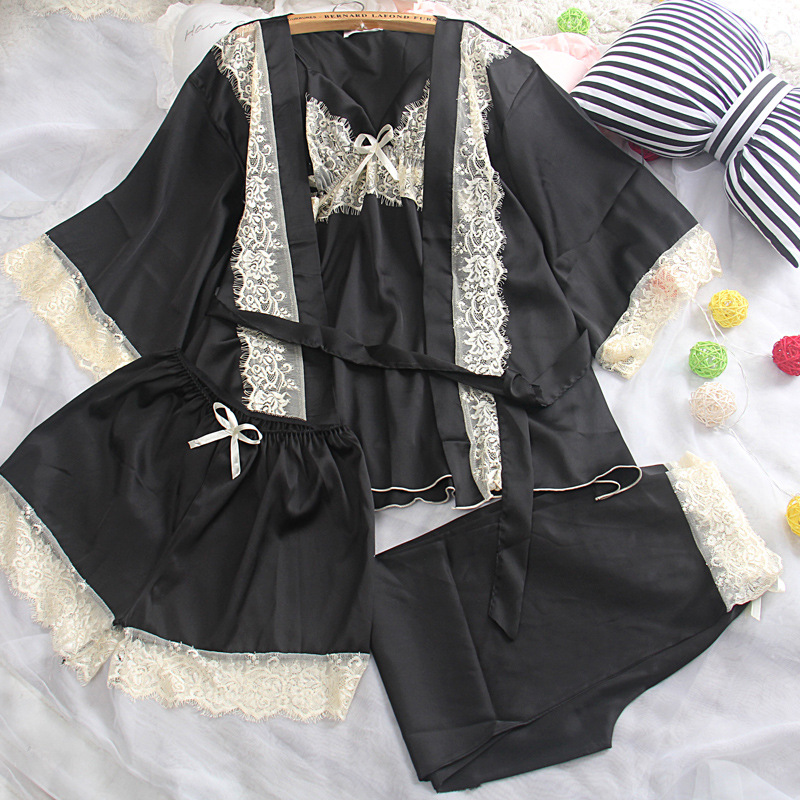 Japanese and Korean spring and summer sexy sexy silk four sets of pajamas set, women's black lace stitching home clothes