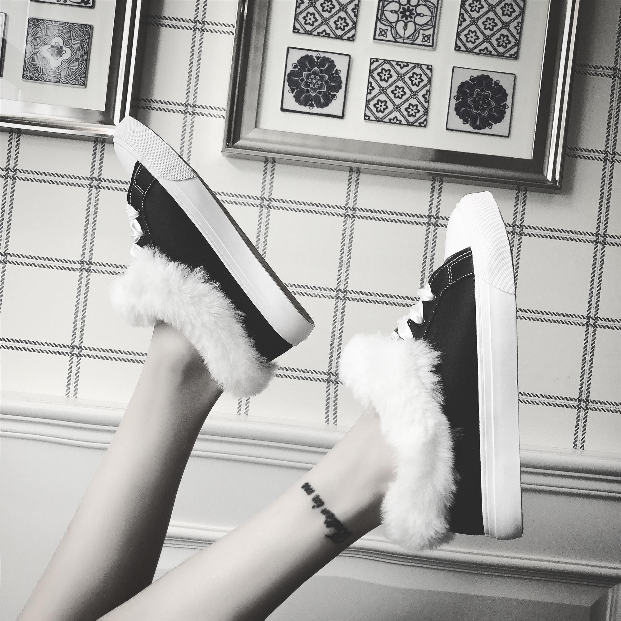 棉鞋女韩版2017冬季新毛毛鞋学生加绒休闲鞋板鞋加厚保暖面包布鞋