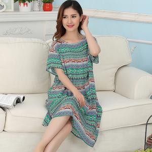 中年妈妈睡裙女夏短袖可外穿大码家居服薄款睡衣绵绸人造棉连衣裙