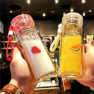 韩式双层透明隔热玻璃杯泡茶杯