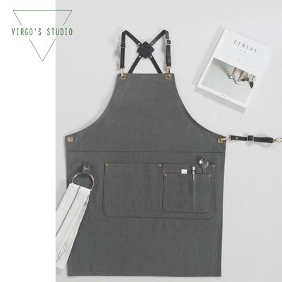 Virgo 背带灰色黑色牛仔围裙 咖啡奶茶美发花艺师工作围裙定制