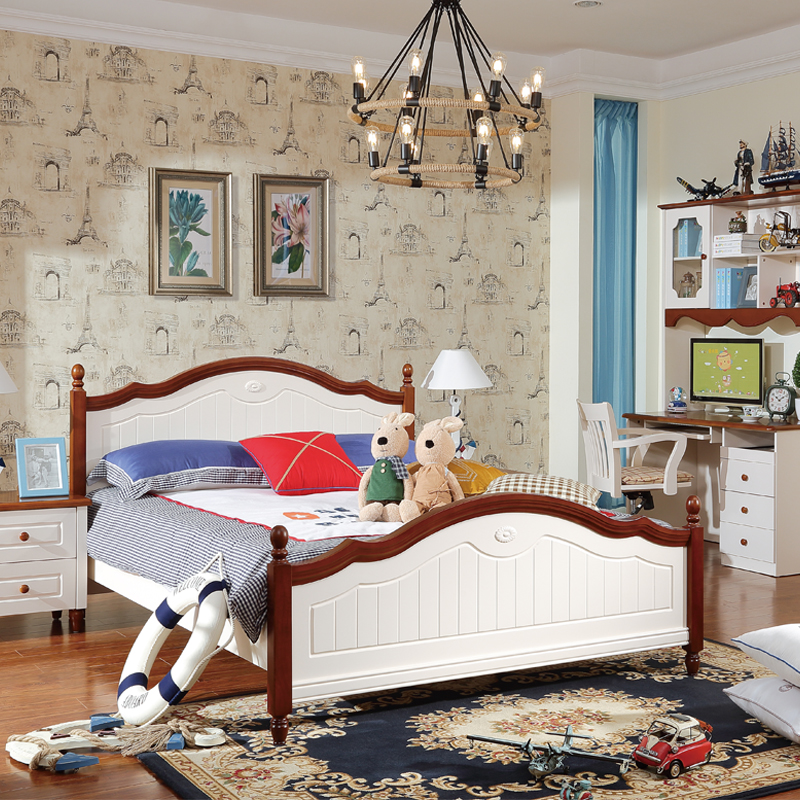 What makes children room furniture suite style Korean double Zhuwo beauty Jane wood Mediterranean bed 1 M 8