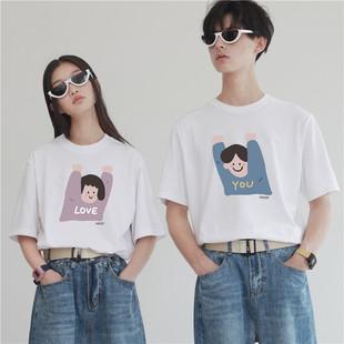 PROD情侣装春装T恤短袖举手男女宽松白色TEE不一样的情侣装夏上衣