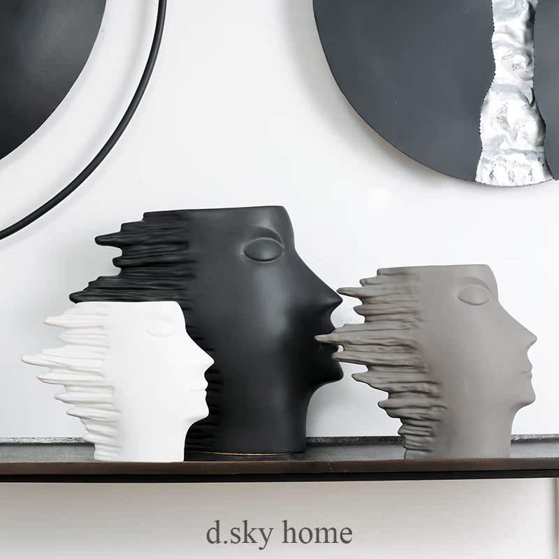 白色s(庫存緊張)迪斯凱 北歐簡約風抽象人頭花瓶花器 玄關電視柜創意家居裝飾擺件