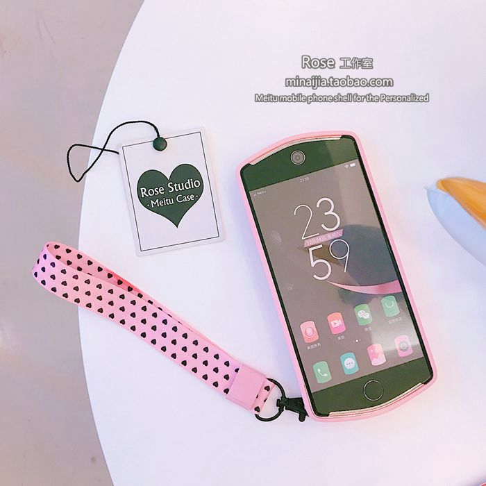 Girl powder love hand rope V4M4 Mito T8s/M8 mobile phone shell M6s/T8 silicone soft shell trend women's personality