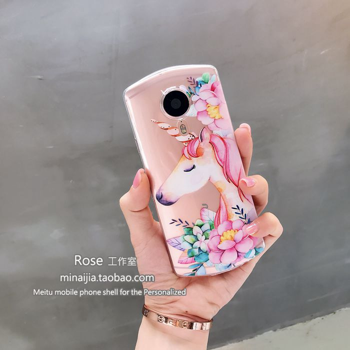 Original personality flower Unicorn beauty figure T8 mobile phone shell V4/m8/M4s transparent M6/M6s silicone soft sleeve full package