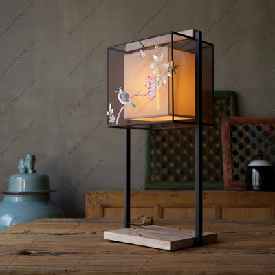 Lighting Chinese table lamp hand-painted modern Chinese fabric living room study table bedroom lamp