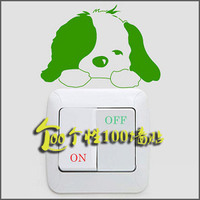 Small dog, children's room, cartoon decorations, stickers, switch settings, small animal stickers, air switch panels, stickers