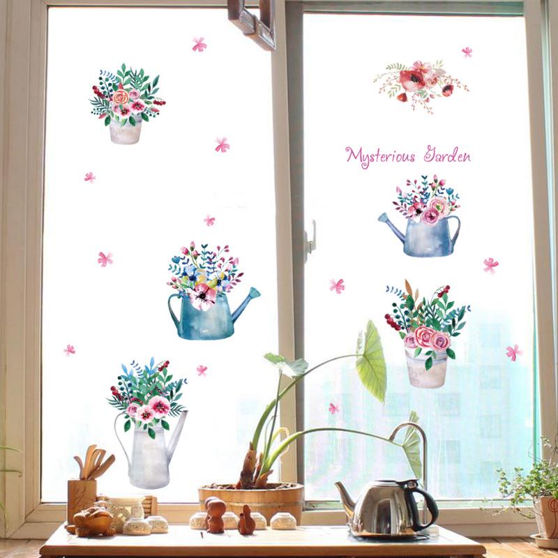 Ručně malované hrnkové nástěnné samolepky odnímatelné obývací pokoj dekorace ložnice rostlin výkladní sklo nálepky samolepky soklové lišty