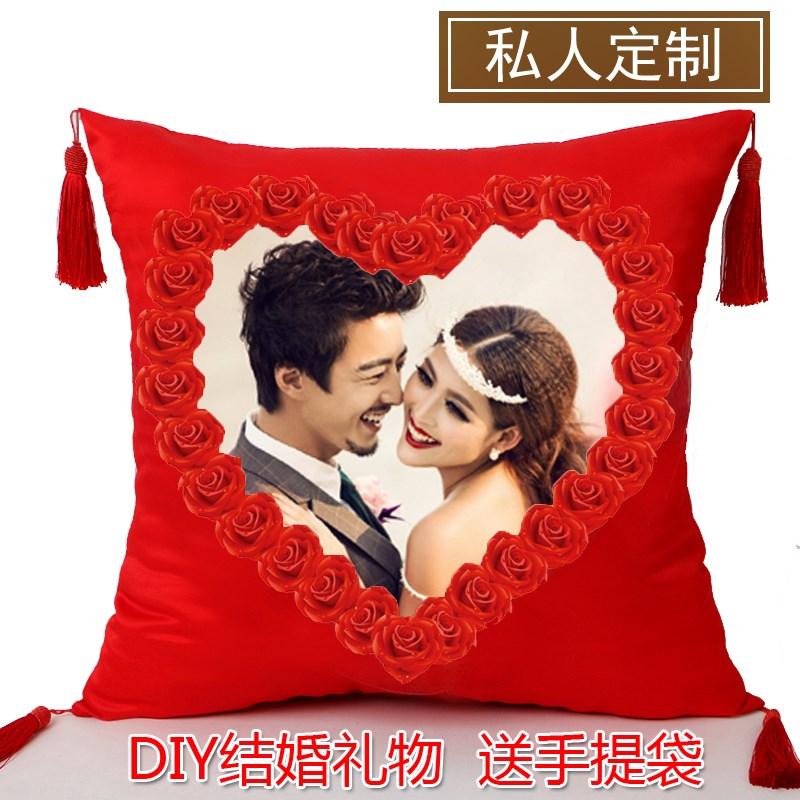 nový polštáře na míru šité na míru pro fotky velký rudý pár diy ve tvaru srdce na posteli se 婚庆 polštář.