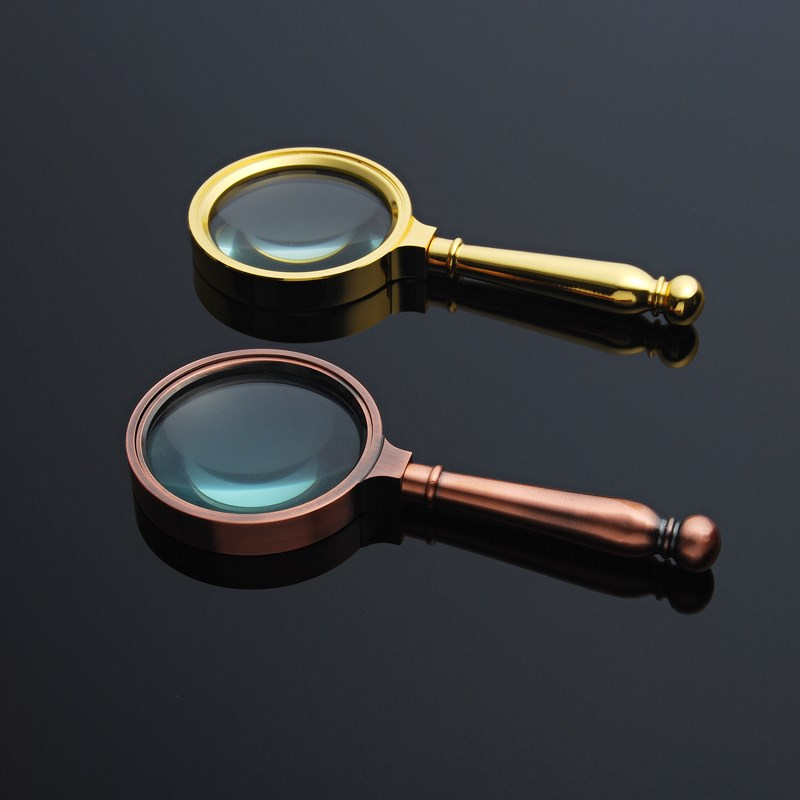 High grade gift boxes with metal bronze and handheld retro magnifying glass 10 times optical glass lenses for old people to read antiques