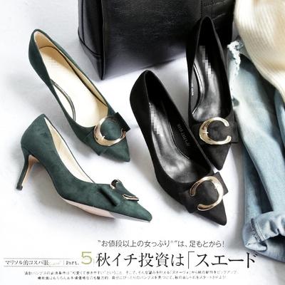 【2017早春新款】都市丽人尖头方扣浅口细跟女鞋B5915 S