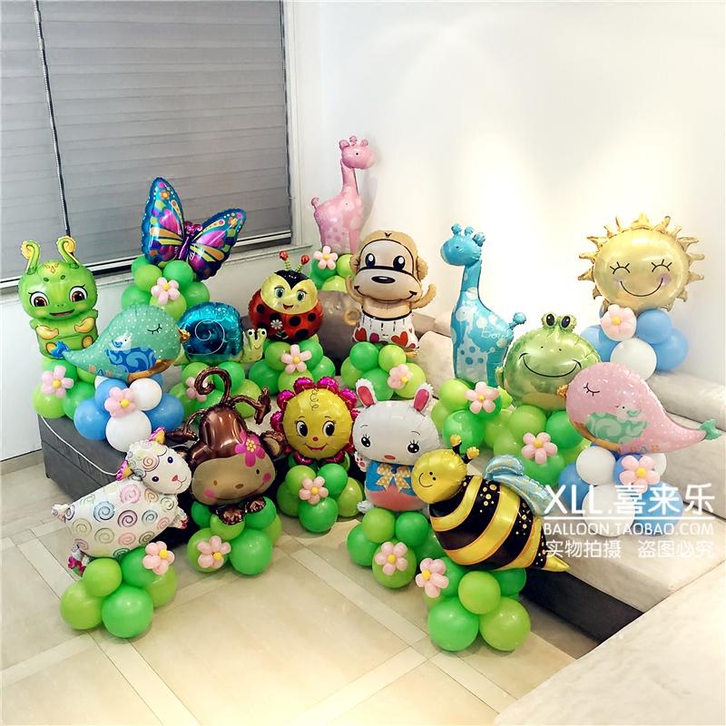 小蜜蜂 路引兒童周歲生日派對客廳布置氣球立柱寶寶月百天酒店裝飾路引套餐