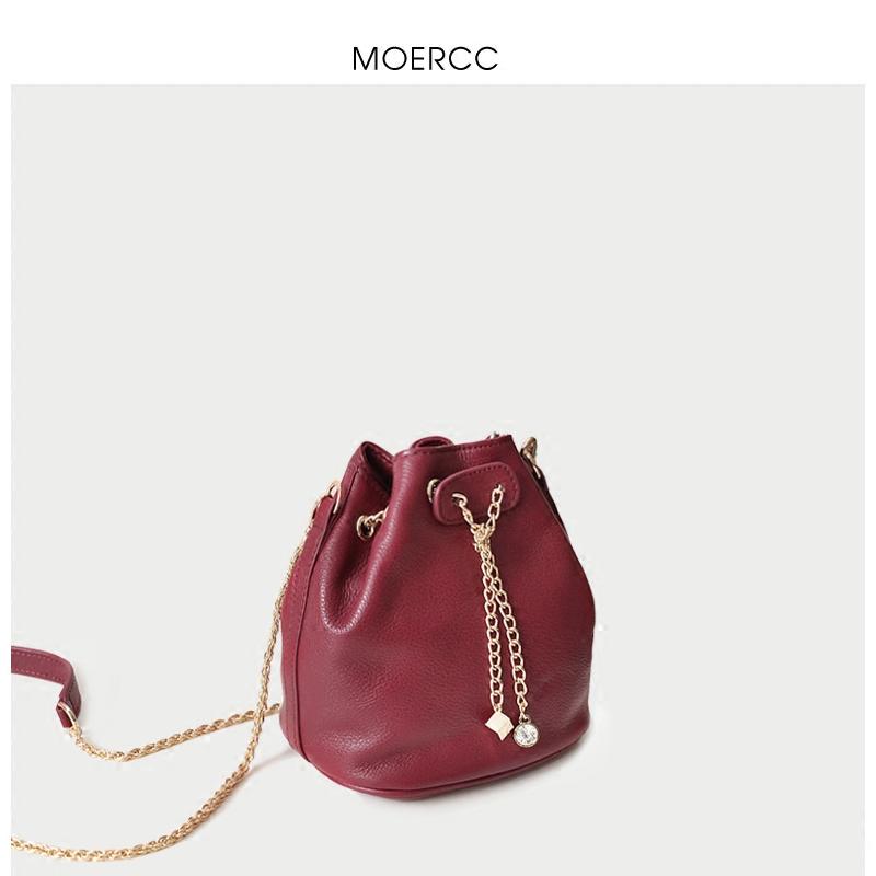 黑色moercc新款鏈條小包包斜挎包韓版時尚迷你水桶包女包牛皮單肩包潮