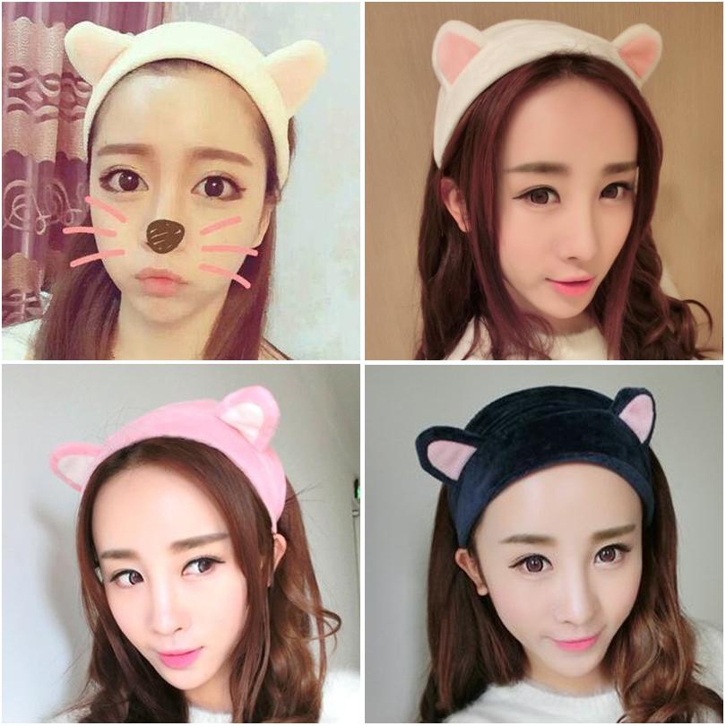 Corea del Sur linda con orejas de gato Chen del pelo de la cara con un pasador de pelo de conejo de orejas adornos para la cabeza