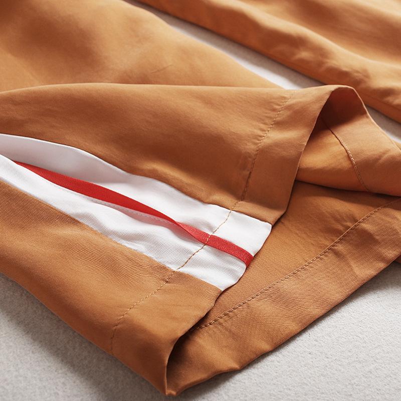 L'Europa e gli Stati Uniti non regola la maglietta del 2017 Mosaico di Piccole strisce maglioni Larghi pantaloni Larghi E + Due vestito Casual cuprammonium