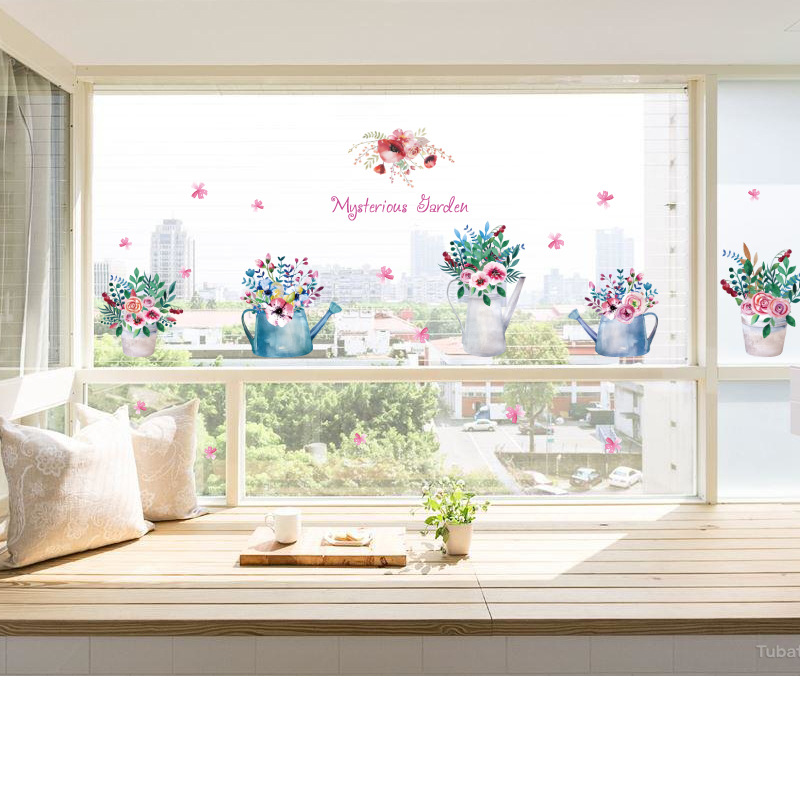 رسمت باليد بوعاء ملصقات الحائط غرفة المعيشة الديكور إزالة غرفة نوم متجر نافذة زجاج ملصقات ملصقات التفاف