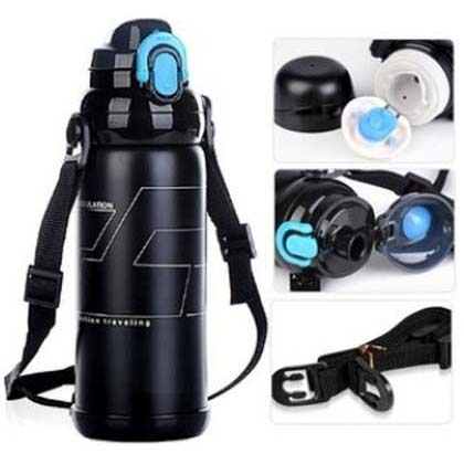 Stainless steel vacuum thermos cup, outdoor riding tour, large capacity bottle, male and female children's sports kettle