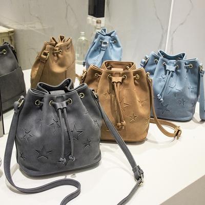 秋季女包2016新款潮时尚大容量包包水桶包镂空星星
